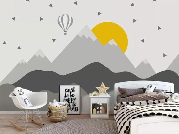 Photo of gray geometry mountains wallpaper removable fabric consecutive hill wall paper kids bedroom wall mural Peel and Stick grey peak wall decor