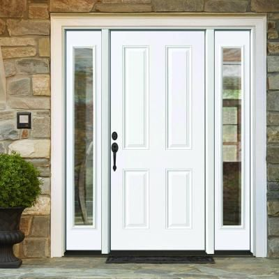 Steves Sons 64 In X 80 In 4 Panel Primed White Right Hand Steel Prehung Front Door With 12 In Clear Glass Sidelites 4 In Wall St40 Pr D12cl R4rh Front Door Doors Living Room Door