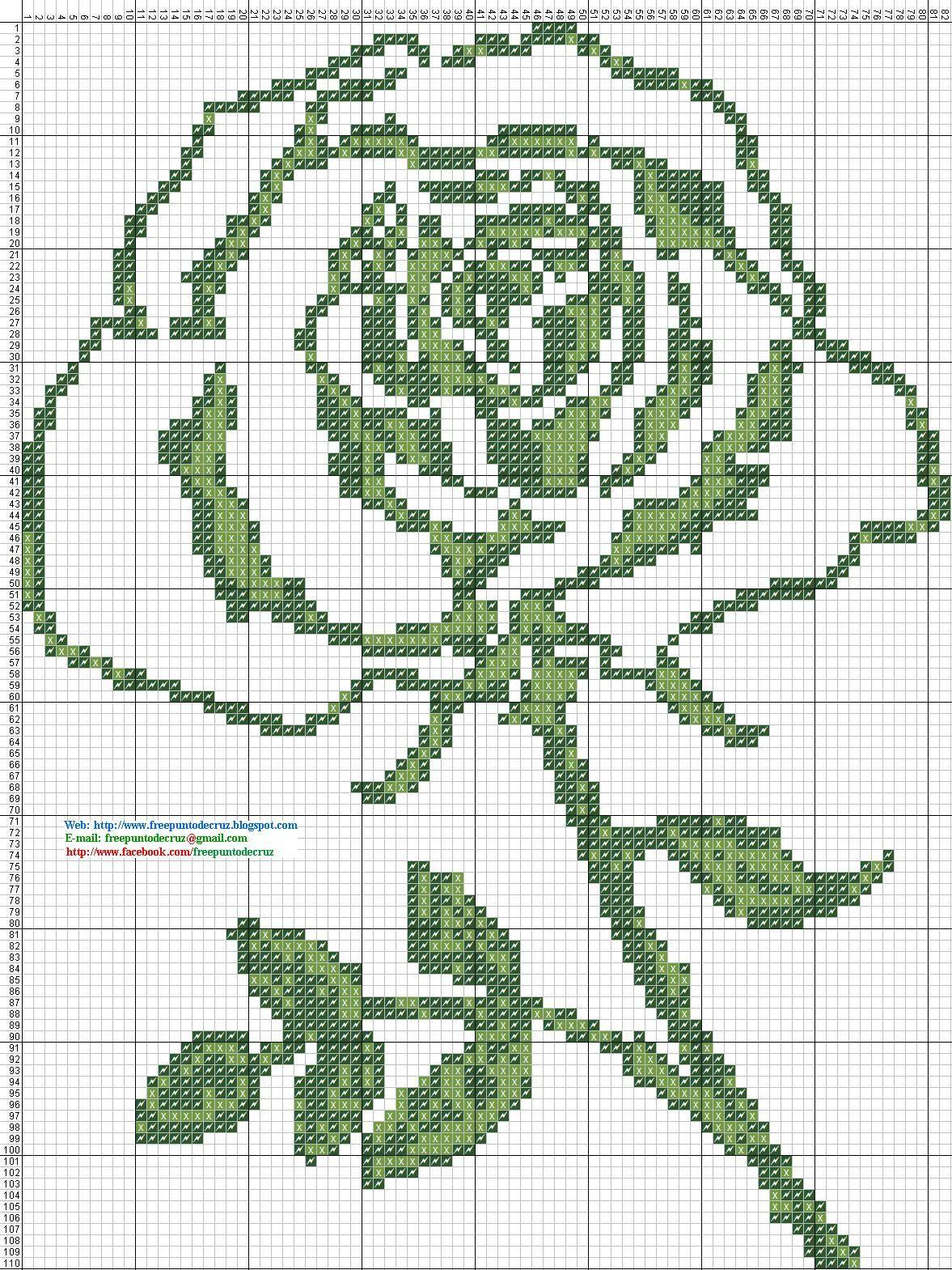 Rosa dos colores - Patron Punto de cruz 82 x 110 puntos 2 colores ...