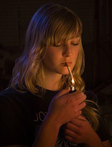 Young girl smoking fetish