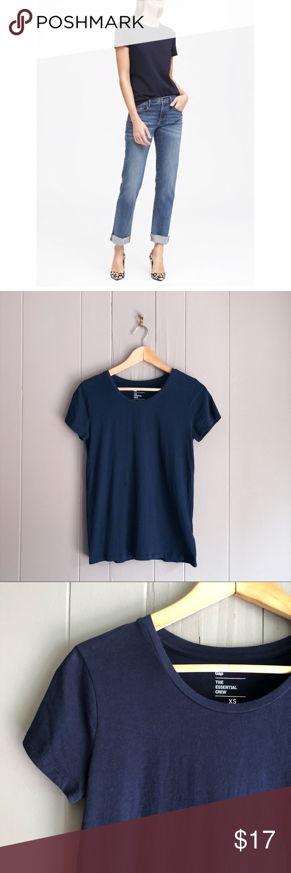 GAP Navy Pima Cotton Essential Crew Neck Tee Soft and lightweight. Perfect for the summer! Excellent...