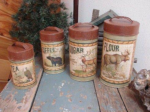 Rustic Lodge Decor, Canister Sets, Canisters, Moose Decor, Kitchen Photos,  Kitchen Ideas, Rustic Kitchen, Each, Wildlife Decor