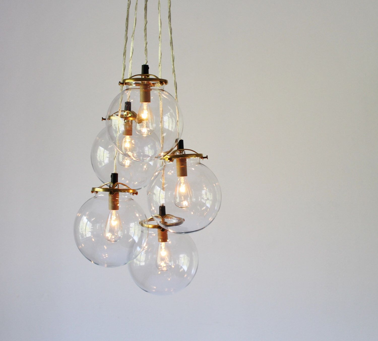 Globe Chandelier Lighting Fixture 5 Hanging Clear Glass Bubble