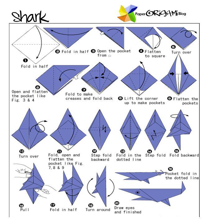 Paperorigami Blog Shark Origami Paper Origami Folding Diagram