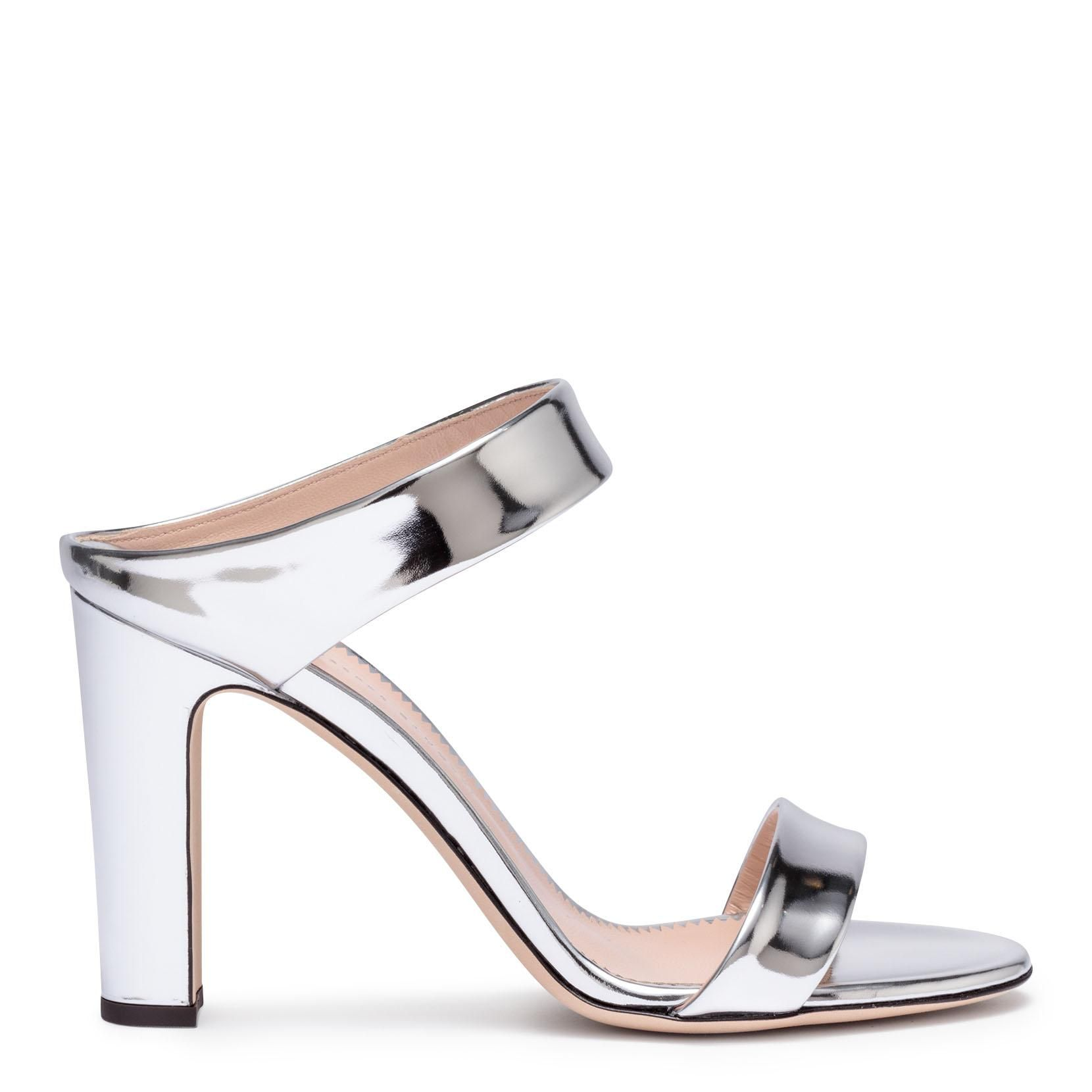 cheap view free shipping Cheapest Giuseppe Zanotti Metallic silver leather block heel sandals cheap sale for cheap v0OWLNzpVz