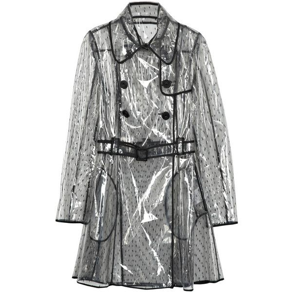 RED Valentino Tulle Rain Coat ($670) ❤ liked on Polyvore featuring outerwear, coats, clear raincoat, clear coat, double breasted coat, clear rain coat and red valentino