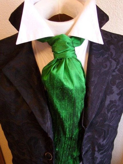 Mens Satin Wedding Formal Kelly Green Cravat