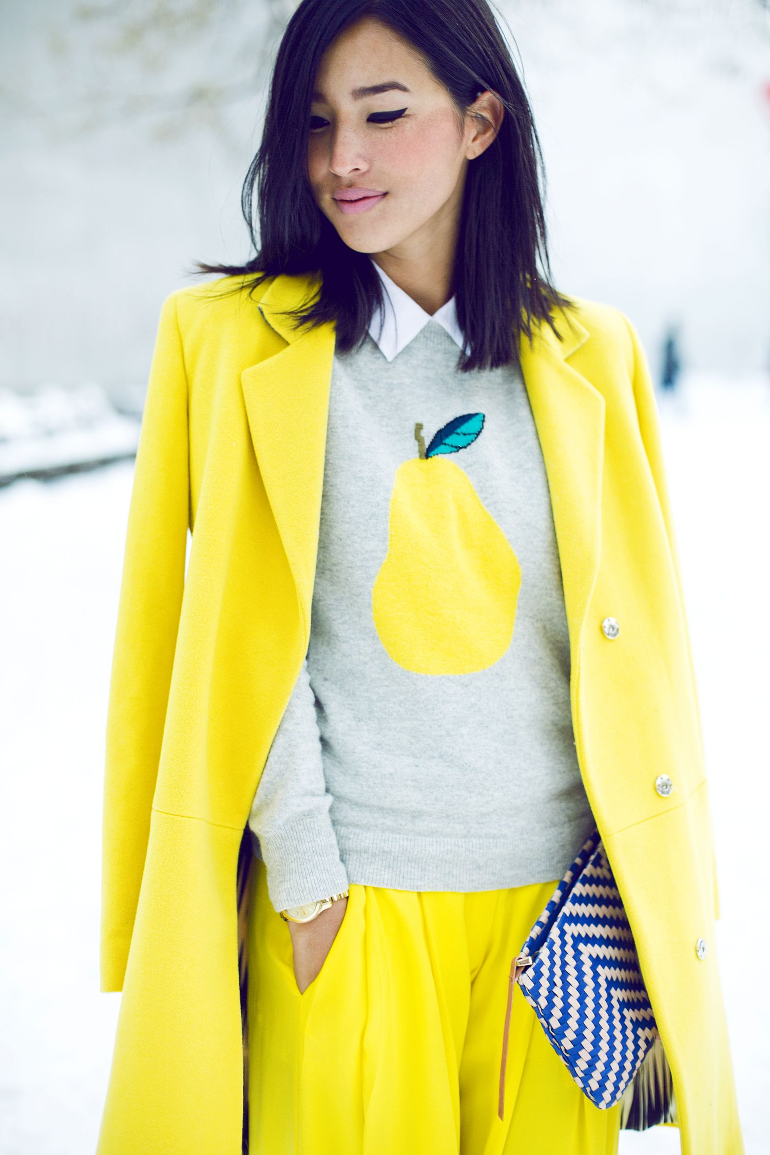 INSPIRATION | #maisonsimons #preppyclub #yellow #fruitprint #outfit #coat