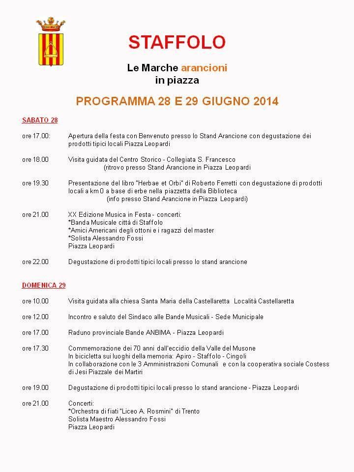 """""""gusta l'arancione: le Marche arancioni in piazza"""" - Programma del Comune di STAFFOLO"""