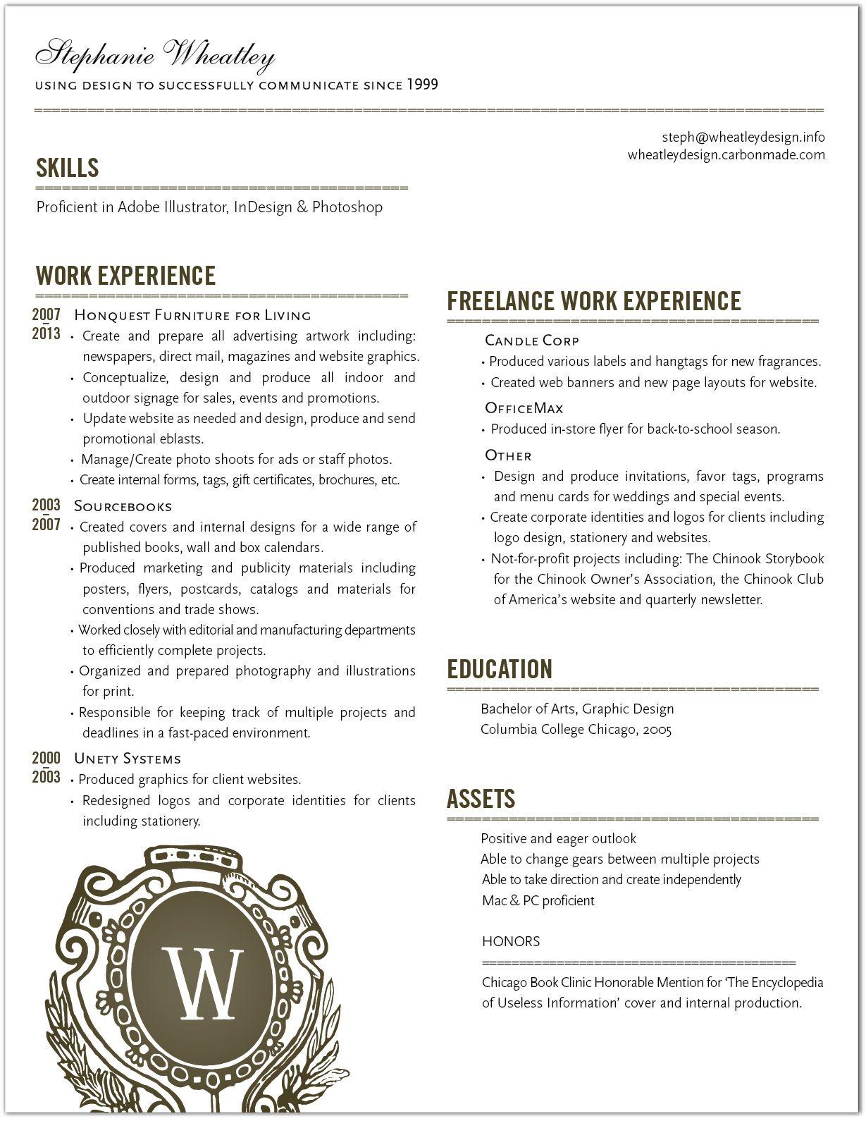 Stephanie Wheatley Graphic Designer Resume Employment