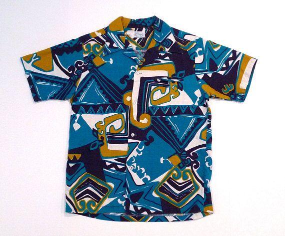 2d0f3de5 Kole Kole Hawaiian Shirt 1960s Vintage Abstract Tribal Print Aloha ...