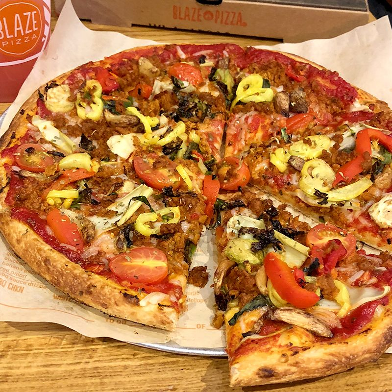 We Were Finally Able To Try The New Vegan Chorizo At Blaze Pizza We Bought Some Build Your Own Pizzas With Their Vegan Cheese Vegan Chorizo Pizza Vegan Cheese