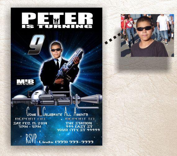 Men In Black MIB Birthday Invitation Card Photo Digital Personalized Printable Design