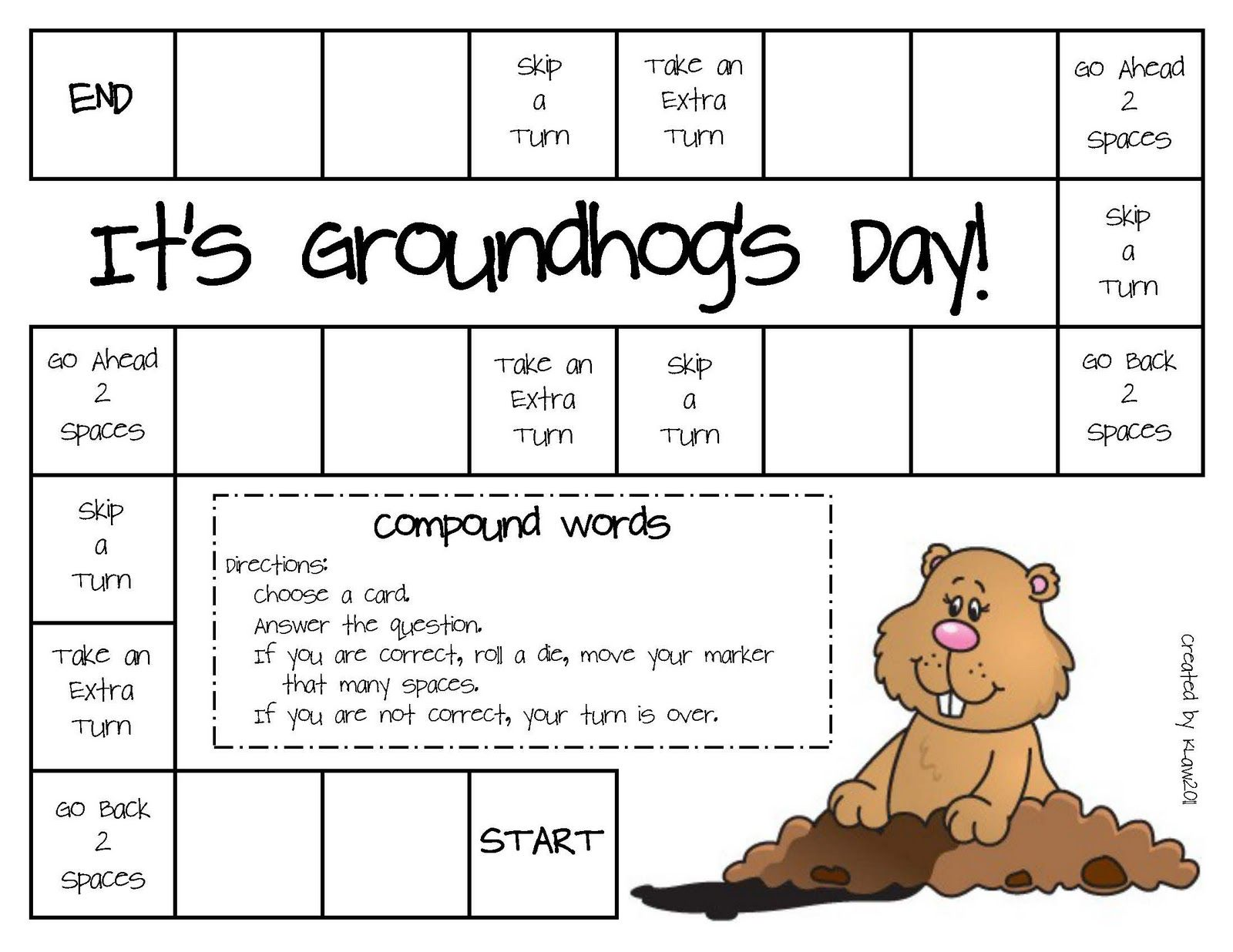 Groundhogs Day Language Game Groundhog Day Activities Groundhog Day Compound Words [ 1236 x 1600 Pixel ]
