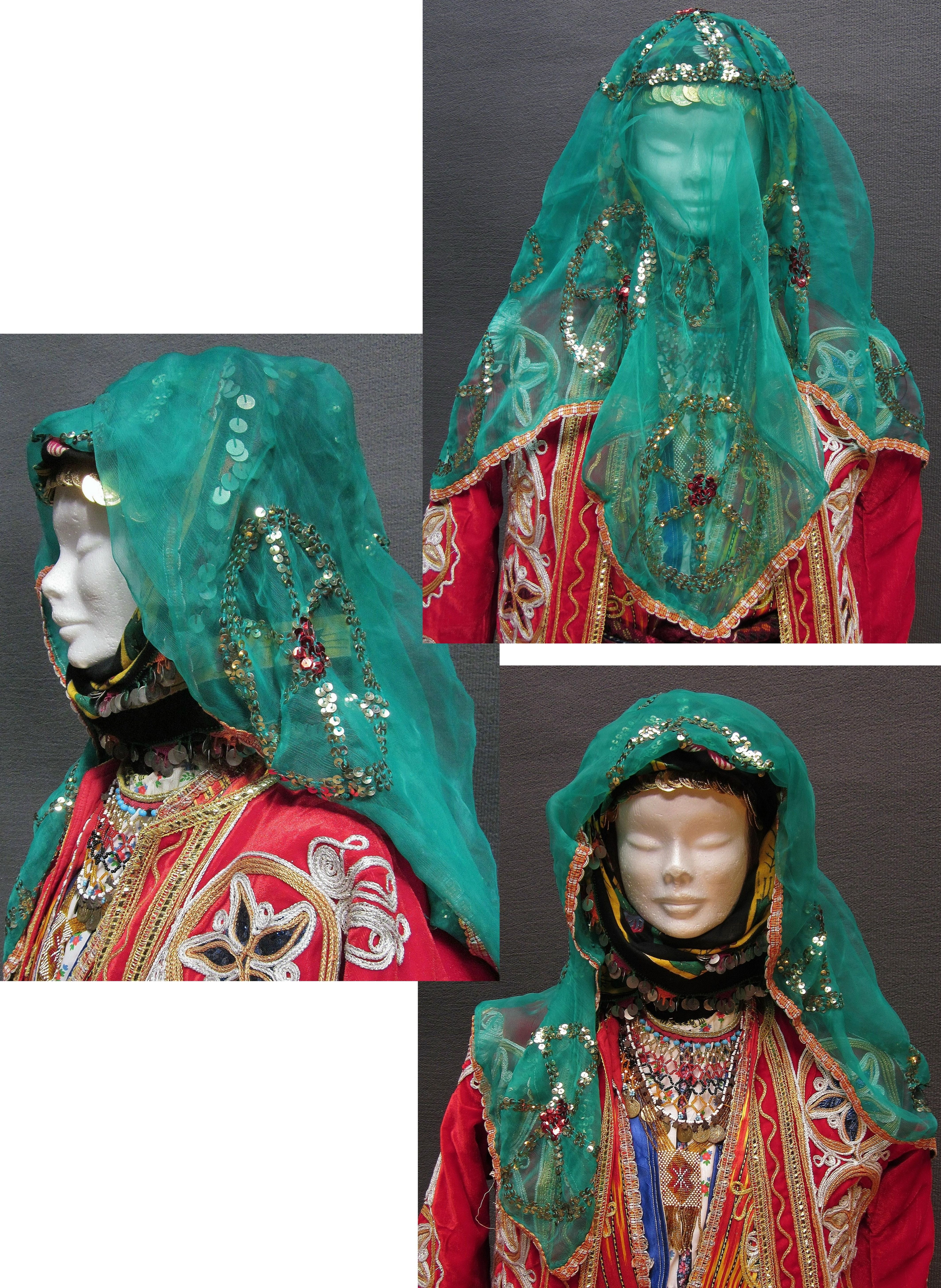 Traditional headgear of a village bride from the central district of the Sivas province.  Ca. 1975.  Still in use in some villages (2010s).  (Kavak Folklor Ekibi & Costume Collection - Antwerpen/Belgium).