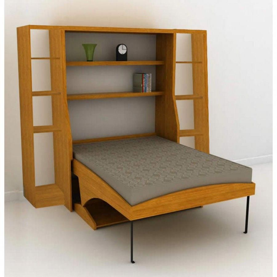 Hiddenbed desk to bed vertical queen and side hutches