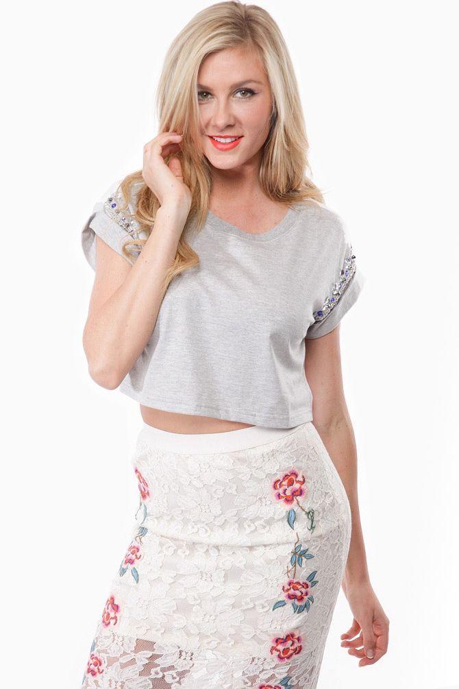 45e002321d198b Jeweled Sleeve Sports Crop Top   Cicihot Top Shirt Clothing Online Store   Dress Shirt