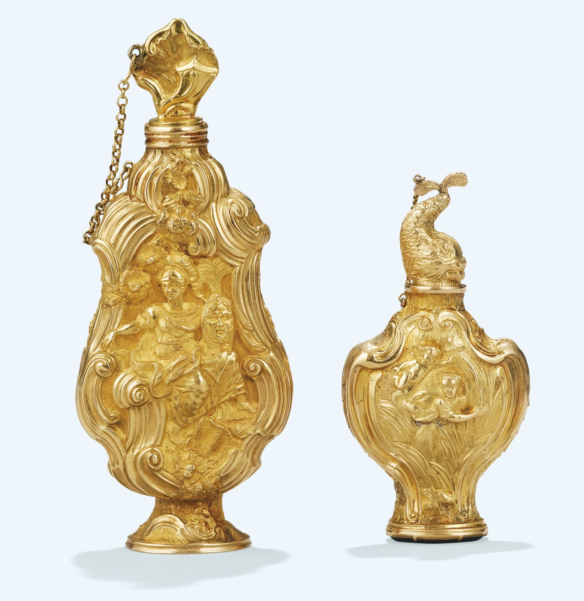 TWO GOLD SCENT BOTTLES, PROBABLY LONDON, CIRCA 1760