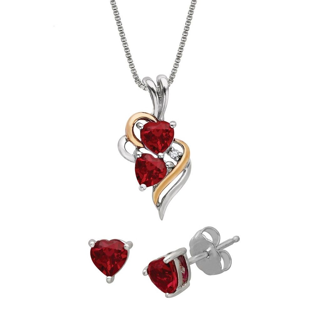 Womenus simulated heart shaped ruby with diamond accent necklace and