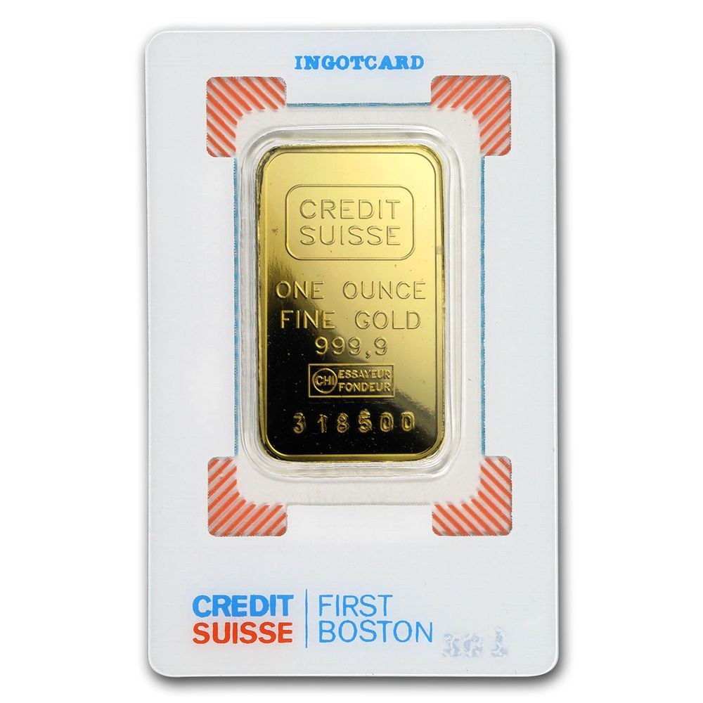 1 Oz Gold Bar Credit Suisse Boston Vintage Assay Sku 166443 Credit Suisse Gold Bar Gold Bars For Sale