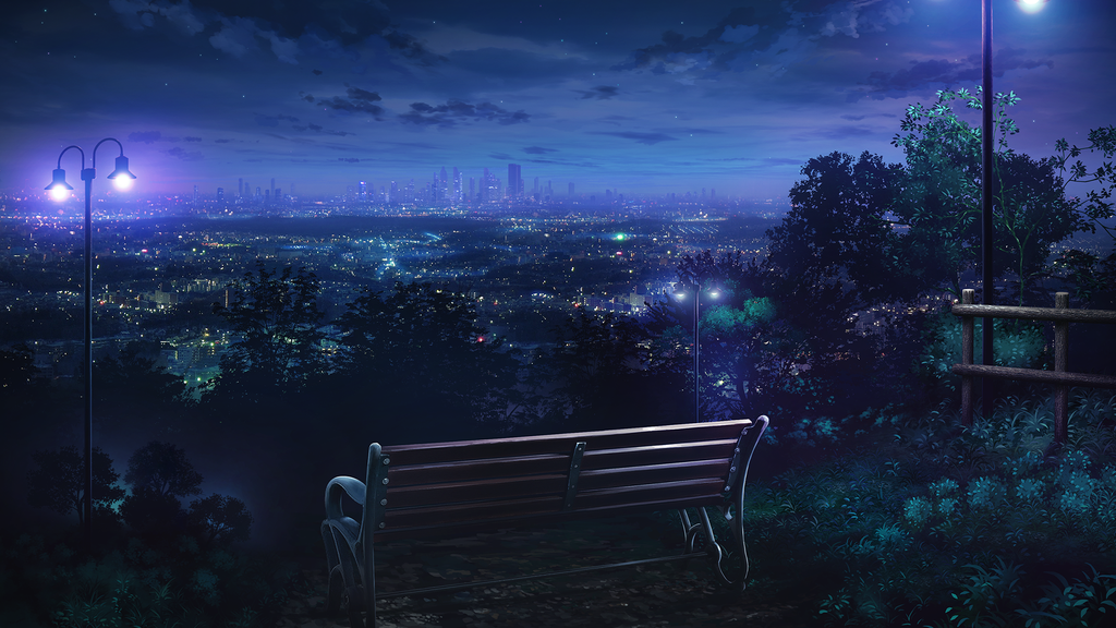 Park On The Hill 1920x1080 Anime Scenery Night Scenery Anime Scenery Wallpaper
