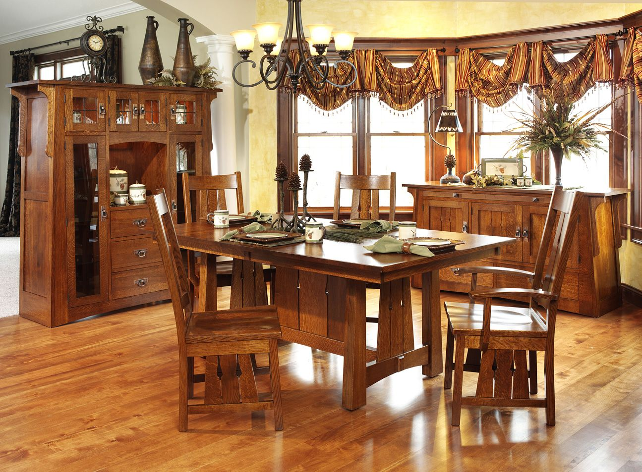 Superbe Santa Cruz Mission Style Quartersawn Oak Dining Set | Amish Furniture |  Solid Wood Mission Shaker Furniture | Chicago Area, Illinois