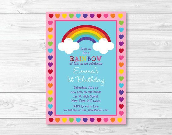 Cute Rainbow Birthday Invitation Invite Hearts 1st 2nd Bir