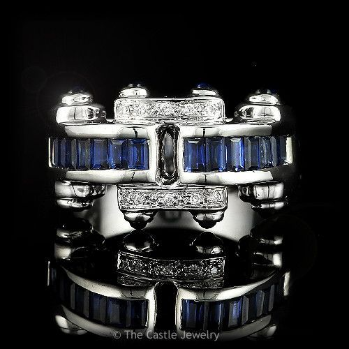 Bellarri Cabachon Sapphire and .05cttw Diamond Ring in 18k White Gold
