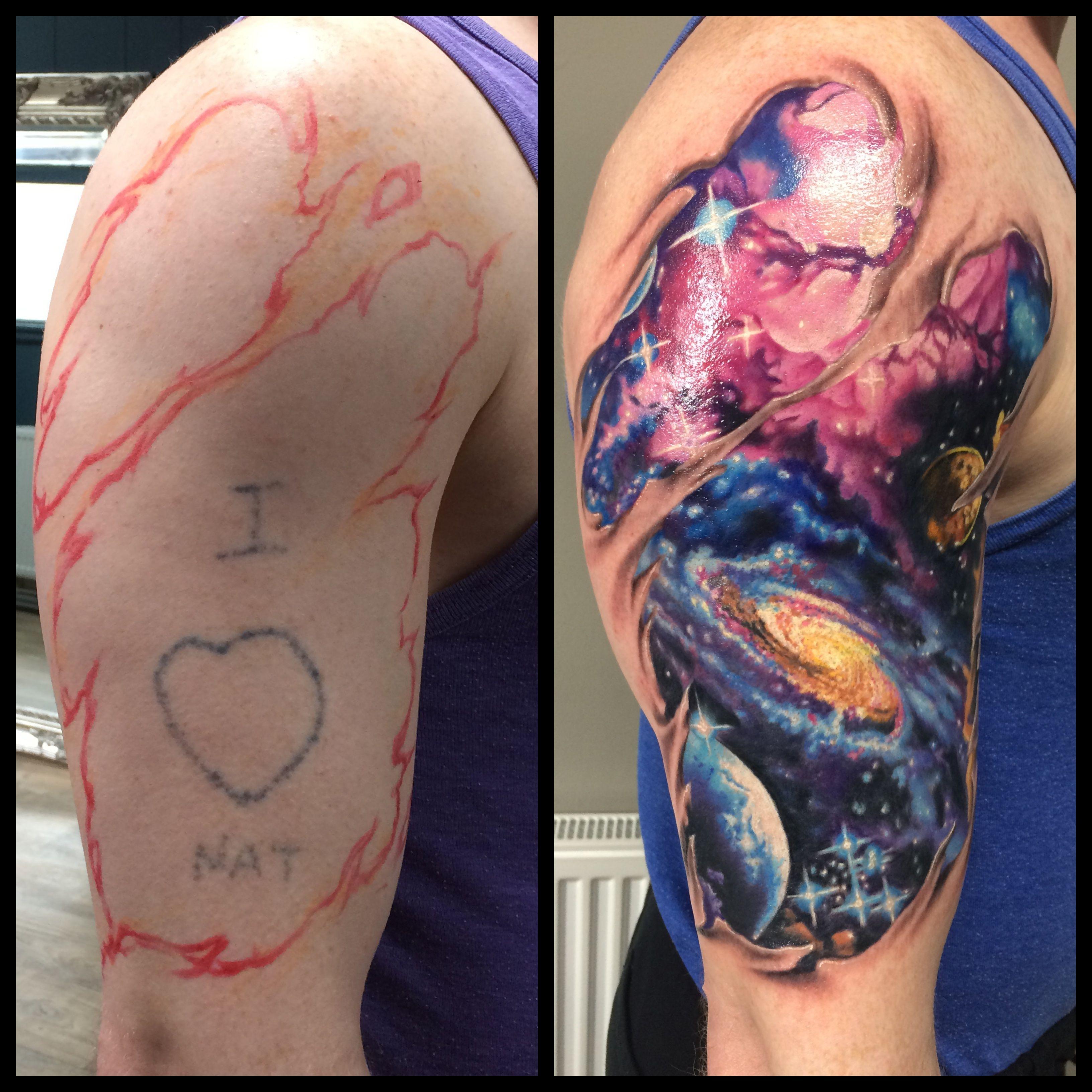 Great cover up tattoo ideas galaxy tattoo space tattoo ripped skin tattoo  tattoos