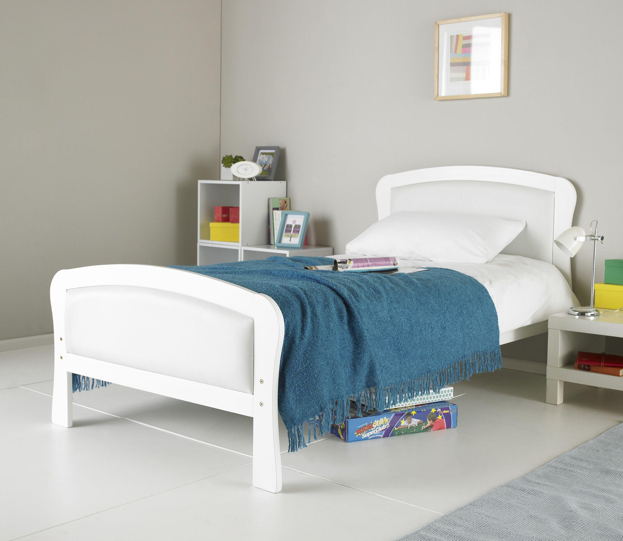 Paddington White Wooden Kids Single Bed With Pu Leather Headboard Leather Headboard Kids Bedroom Headboard
