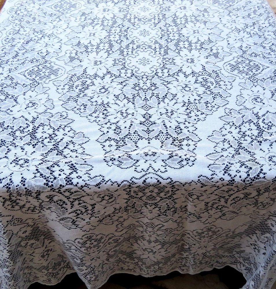 Vintage Quaker Lace Tablecloth 68x90 Rectangle Floral Cotton
