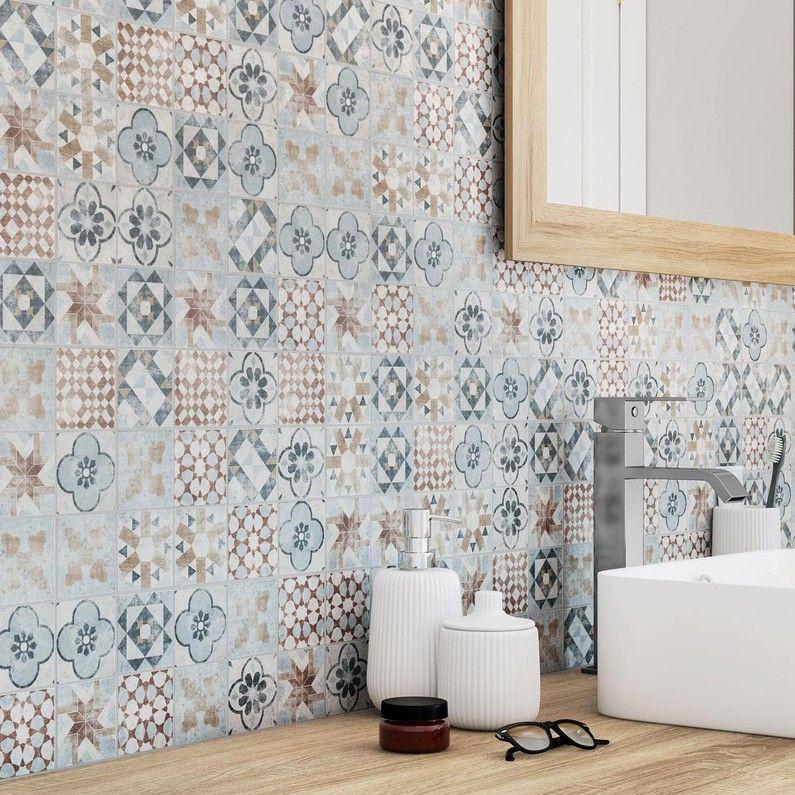 Mosaïque sol et mur Villa mix couleur 6.17 x 6.17 cm ...