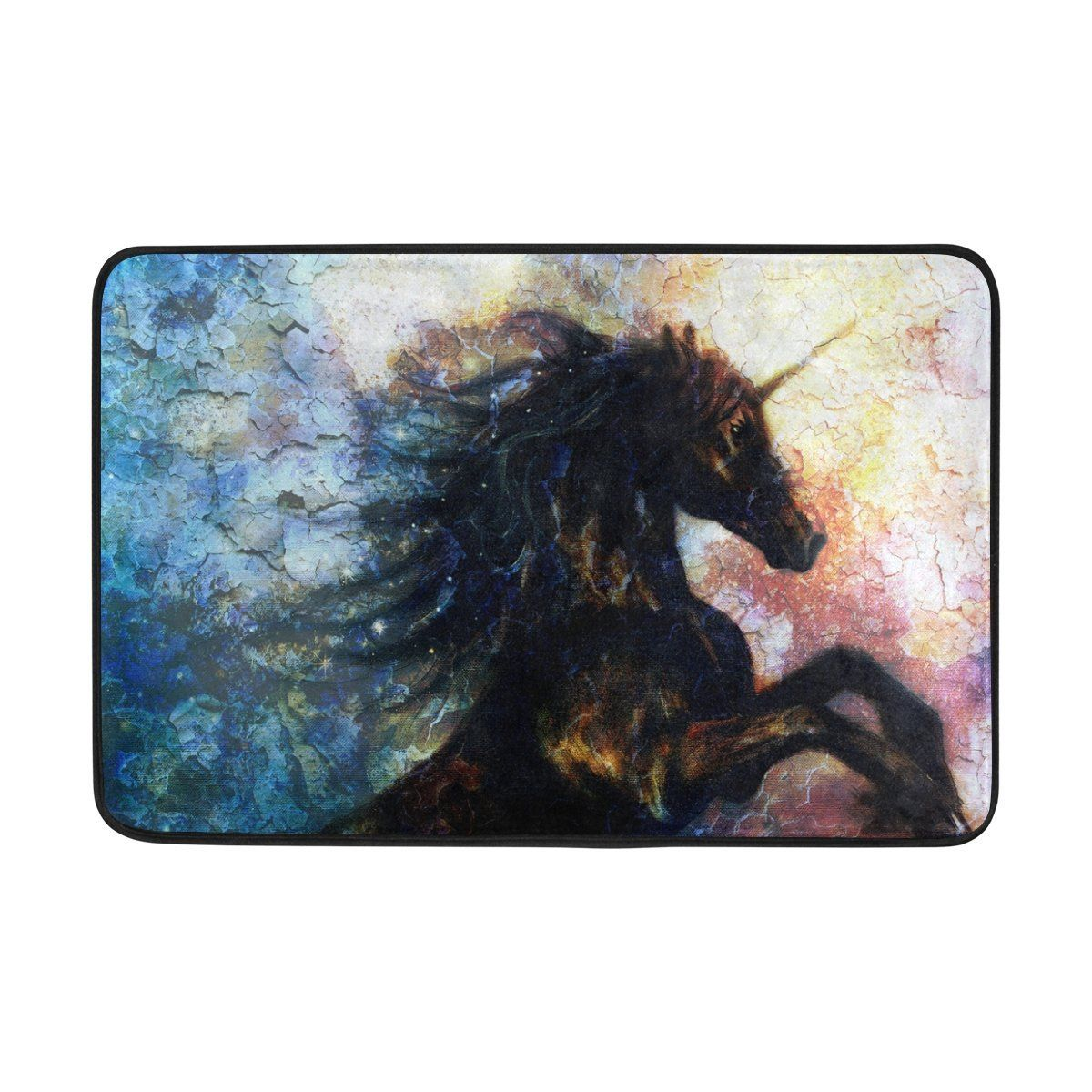 Amazon.com : DemonCo Black Unicorn Horse Door Mat Rug, Animal Safari  Wildlife Dancing