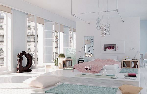 Romantic White Penthouse Bedroom Decor With Dinner Table Modernminimalis Com