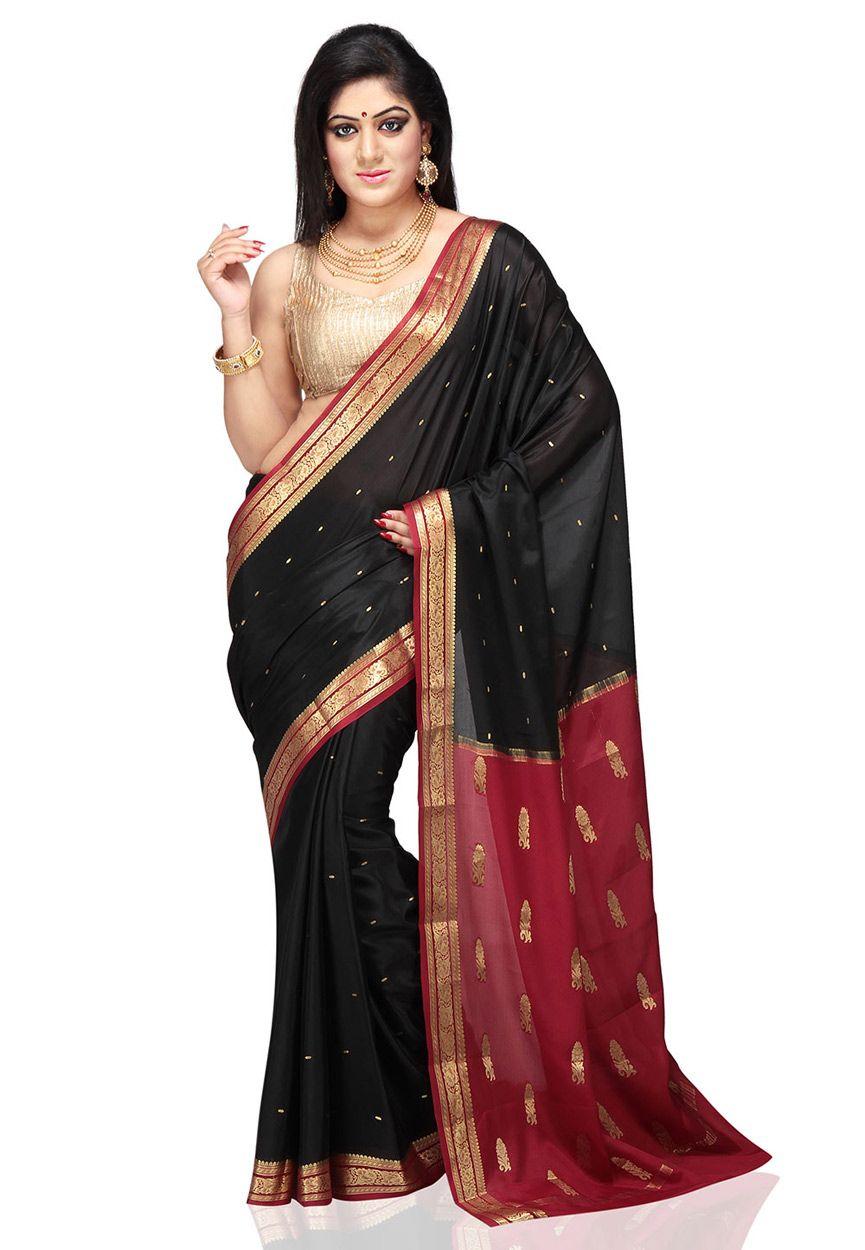Maroon silk saree black and maroon pure mysore silk saree with blouse shu