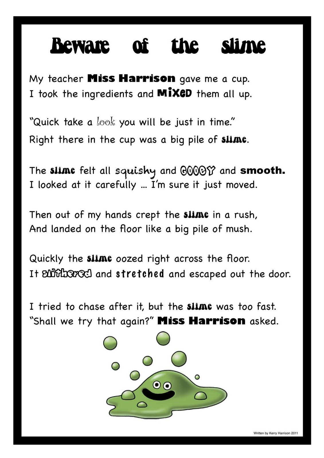 Kids Slime Poem