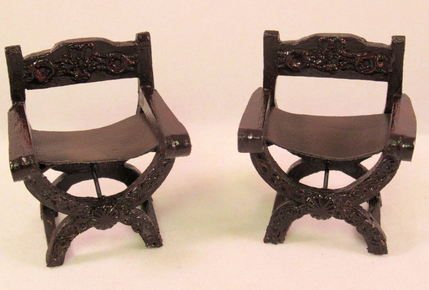Miniature 1:12 Scale Louis XVI Golden Ornate Carved Chair For Doll House