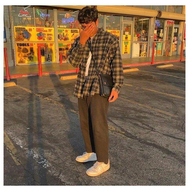 brown pants men outfit street