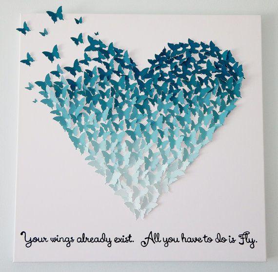 3D Butterfly Heart in Ombre Ocean Blues - Wall Art 24x24 (You choose ...