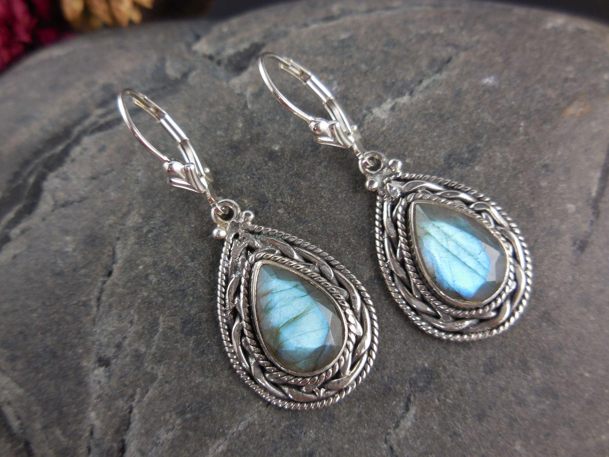 Diamond /&  Labradorite  Sterling Silver Beaded Earring