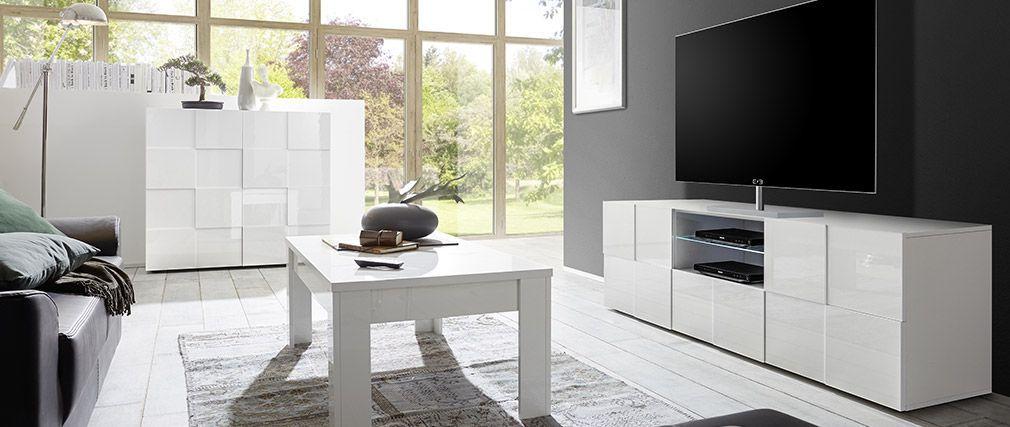 Meuble TV design laqué blanc KUBE pas cher 180 cm prix Meuble TV