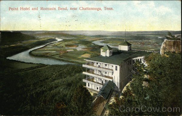 Point Hotel And Moccasin Bend Chattanooga Tn Postcard Tennessee