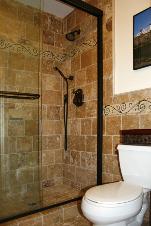 The Awesome Web travertine shower tile design Very different than the norm I like it