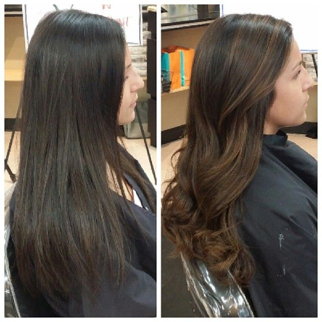 Copper Balayage On Black Hair