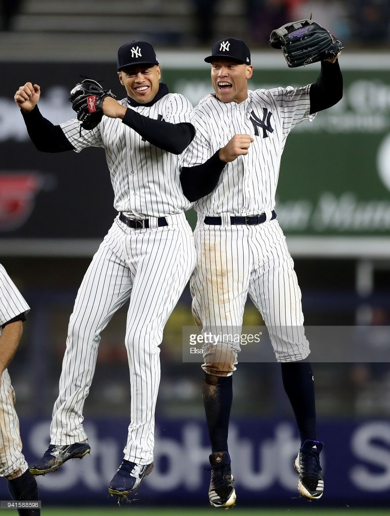 Giancarlo Stanton 27 An Aaron Judge 99 Of The New York Yankees Celebrate The 11 4 Win Over The Tampa Bay R New York Yankees Baseball New York Yankees Yankees