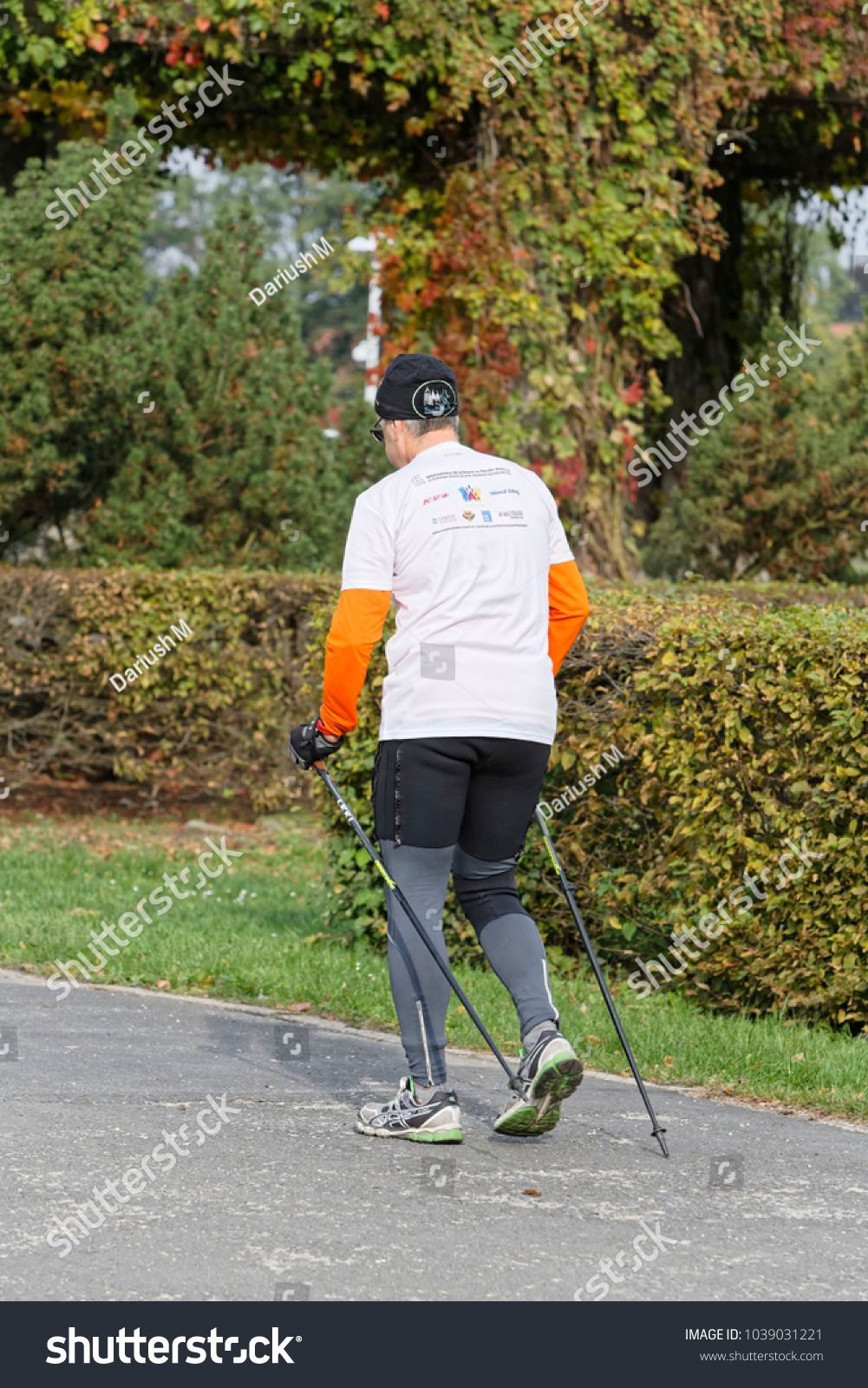 Vector Silhouette Of People With Nordic Walking Marche Nordique