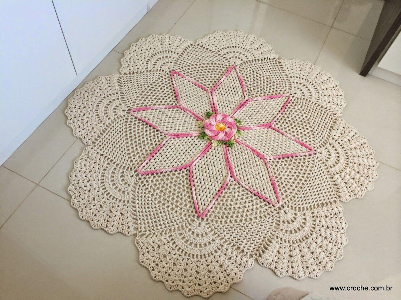 Tapete Redondo Flor Bergamota Croche Com Br Crochet Doilies  -> Tapete Para Sala De Barbante Redondo