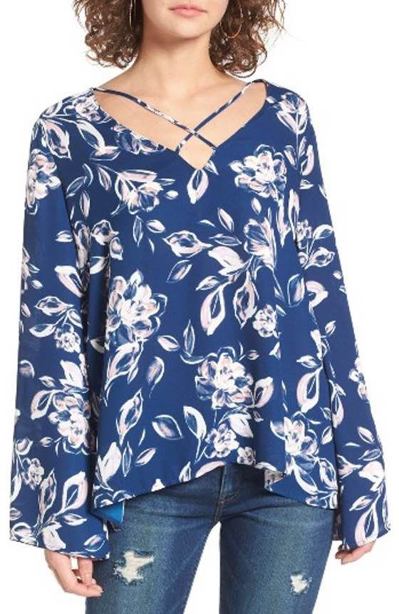 5174ec1fb975f8 Free shipping and returns on Soprano Bell Sleeve Top at Nordstrom.com.  Dramatic bell sleeves add trendy volume to this crisp cotton swing top  that's sure to ...