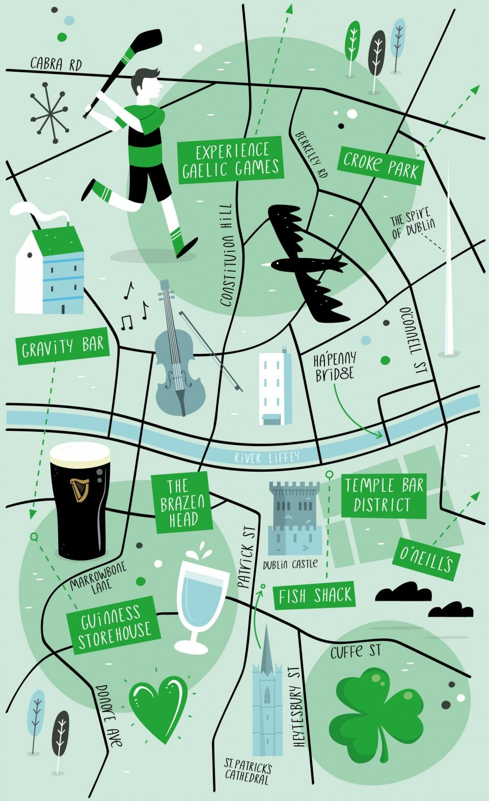 Maps Dublin.Illustrated Map Of Dublin Travel Map Illustration Dublin Map