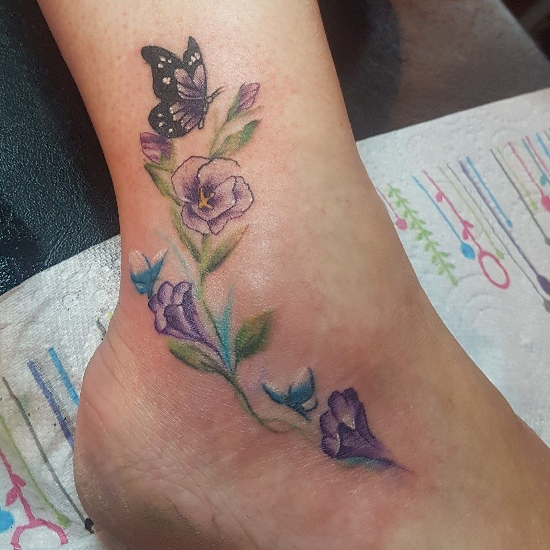 Watercolour Flowers Ankle Tattoo Flower Tattoo On Ankle Foot Tattoos For Women Cute Foot Tattoos